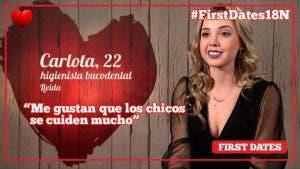 Carlota como un tomate en First Dates ante el ímpetu de Carlos
