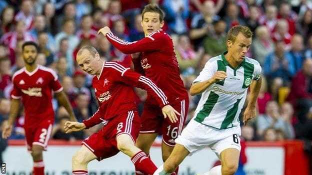Imagen del partido de ida entre el Aberdeen y el Groningen. Foto: BCC