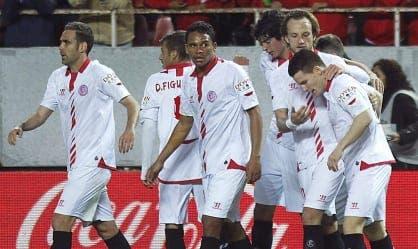 Celebración del gol de Kevin Gameiro - Sevilla