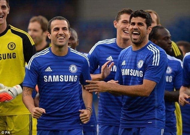 Cesc y Costa en un entrenamiento con el Chelsea. Foto: Agencias.
