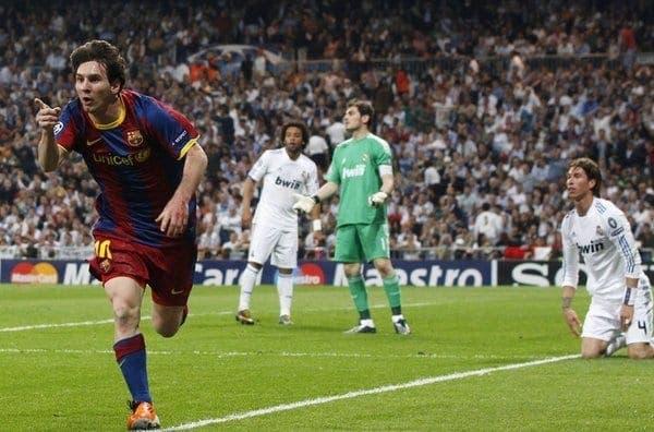 Messi celebrando un gol en el Bernabéu. Foto: Agencia
