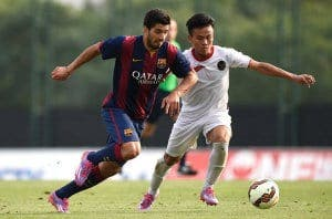 Jugo Suárez con el Barça B para terminar marcando dos goles. Foto: Agencia