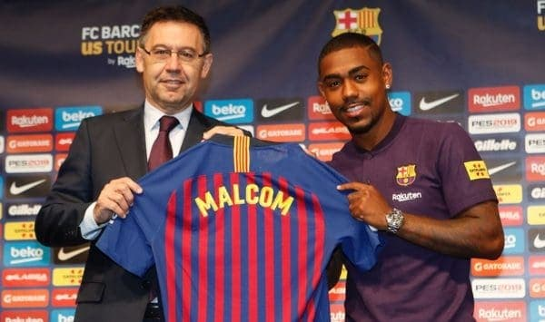 Malcom con presidente del Barcelona