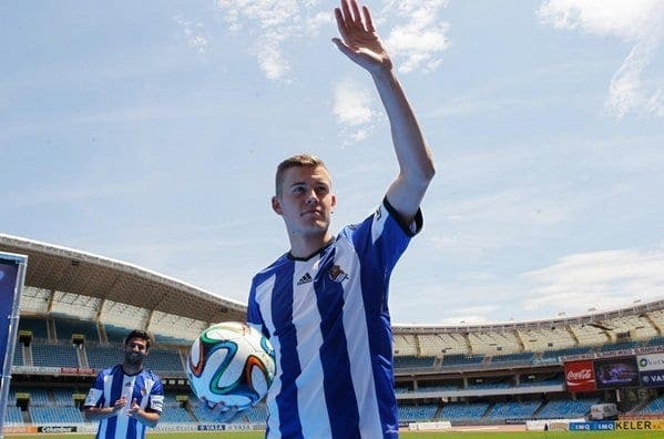 Finnbogason el día de su presentación como nuevo jugador de la Real.