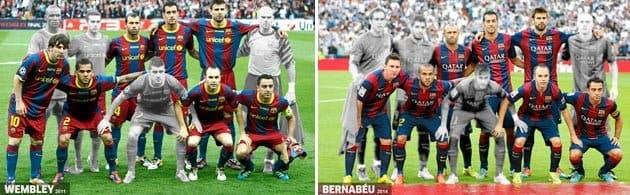 La alineación del Barca en Wembley en 2011 y en el Bernabéu en 2014. Foto: Marca