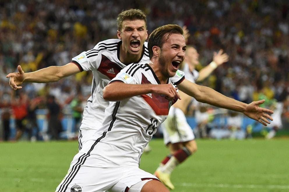 Celebración del gol que dio a Alemania la Copa del Mundo en Brasil 2014.