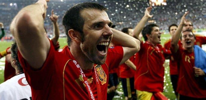 Carlos Marchena celebrando la Eurocopa de 2008