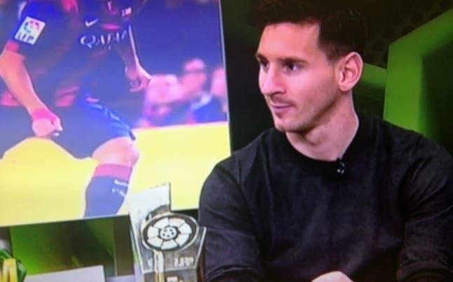 Messi en el plató de Barça Tv al terminar el encuentro. Foto: Agencia