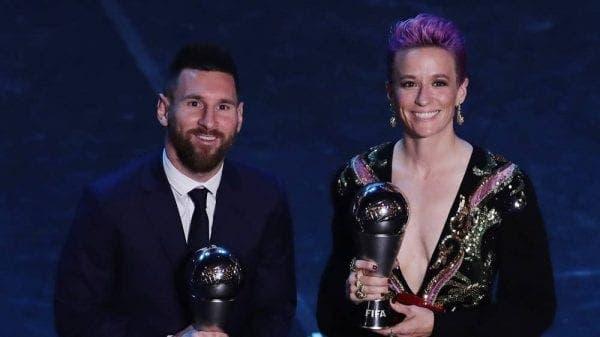 messi y megan rapinoe en los premios the best