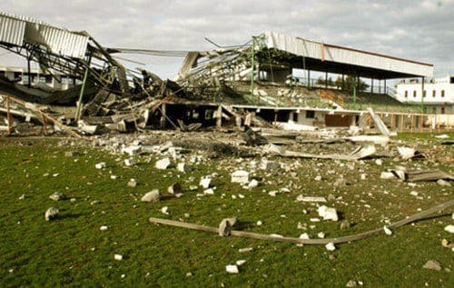El estadio de Gaza destruido por el ejército de Israel.