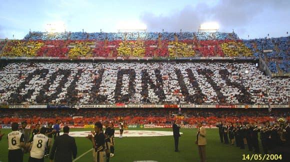Tifo que preparó la afición del Valencia CF