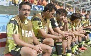 Xavi en el banquillo de España antes de renunciar a la selección. Foto: Agencia